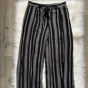 Striped tie waist tulip pants